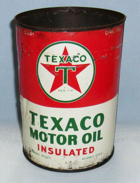 VINTAGE 1940s50s ONE QUART TEXACO (THE TEXAS COMPANY) INSULATED MOTOR OIL CAN