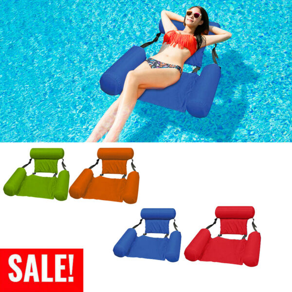 Inflatable Swimming Floating Chair Pool Seats foldable Water Bed Lounge Chairs $17.28