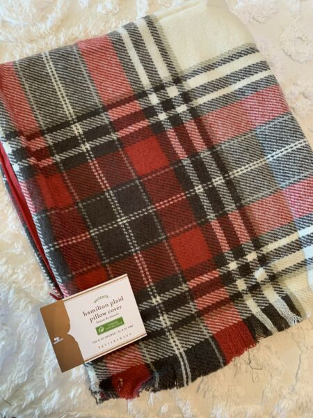 Pottery Barn Hamilton Plaid Pillow Cover 20quot; NEW With Tags Red Gray Ivory $32.99