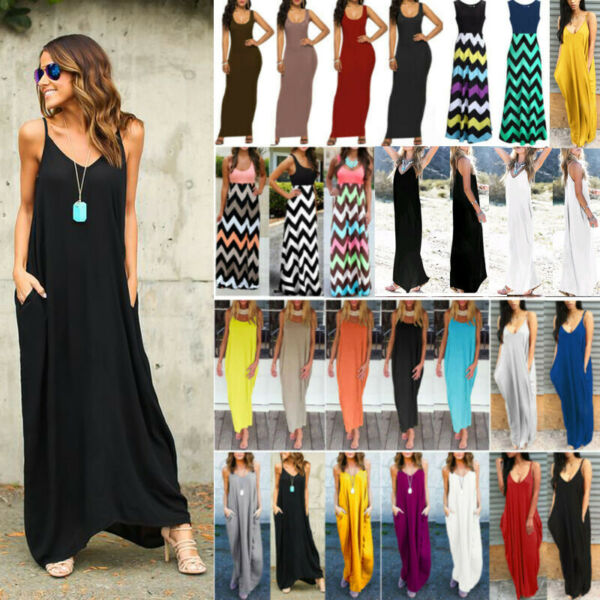 Women's Summer Sleeveless Maxi Dress Ladies Beach Holiday Casual Party Sundress $20.32