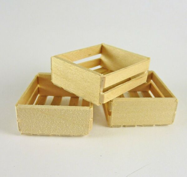 Dollhouse Miniature Set of 3 Wooden Crates Small