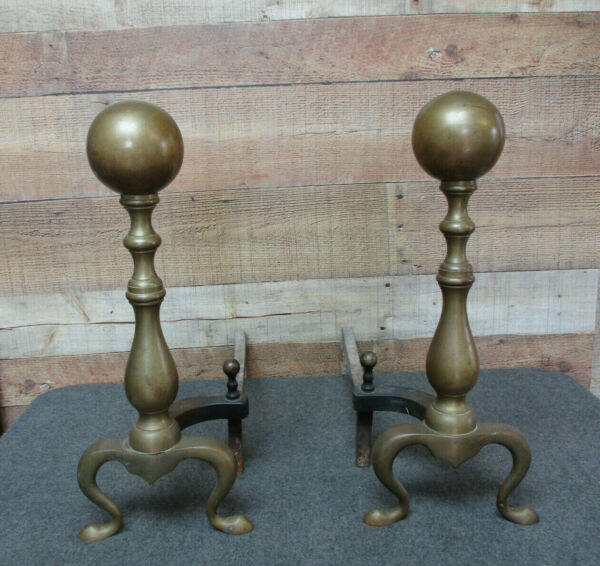 Vintage Brass Ball Top Fireplace Andirons 18quot; High