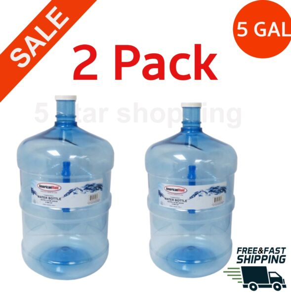 2 Pack 5 gallon water bottle BPA FREE liquid container big reusable jug durable $32.98