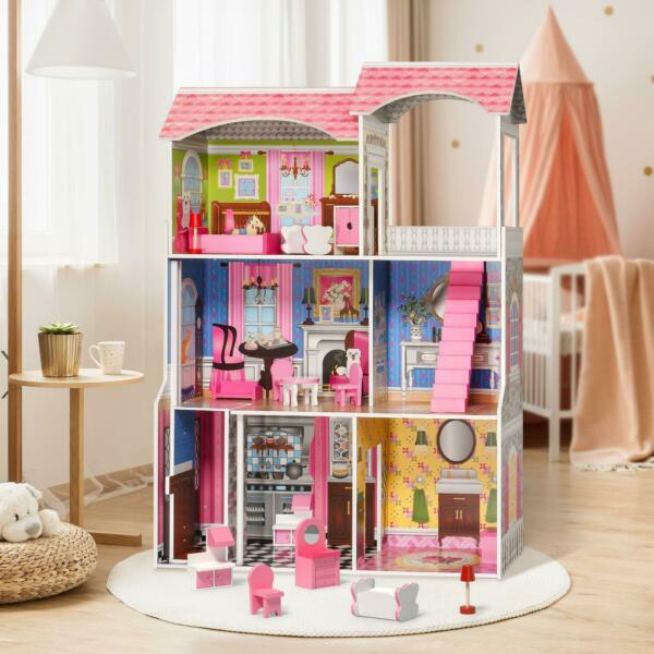 Girls Dream Wooden Pretend Play House Kids Doll Dollhouse Mansion with Furniture