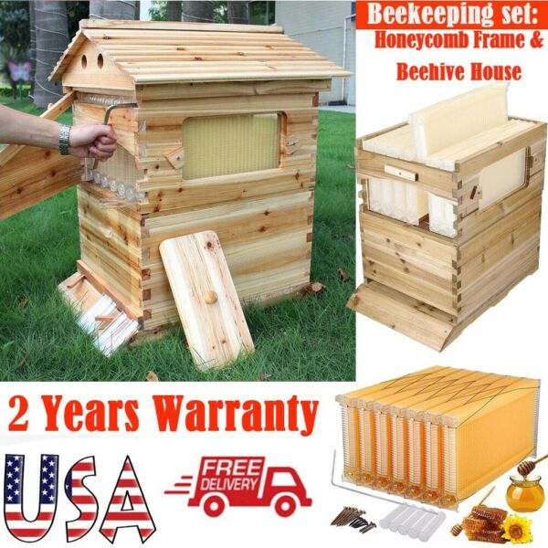 Top Beekeeping Wooden House Box + 7pc Automatic Harvest Honey Beehive Frames Set $249.99