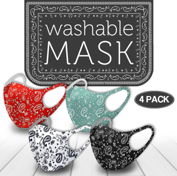 4 Pack Mix! Face Mask Paisley Reusable Washable Protection Cover Brea