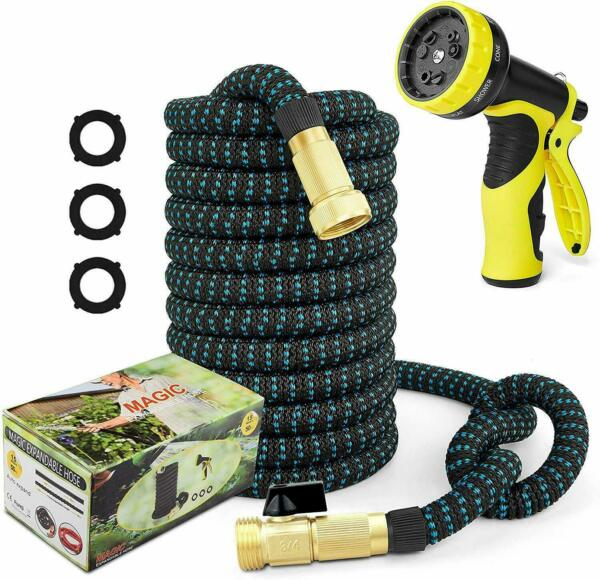 50ft Garden Hose New Expandable Water Double Latex Core 3 4 Solid Brass Fittings