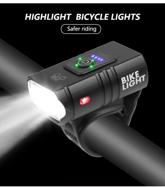 LED Bike Headlight USB Rechargeable Bicycle Front Flashlight Bike Accessories $13.99