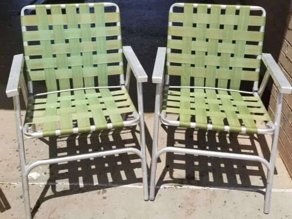 2 Aluminum Patio Chairs Matching Folding Green Webbing Lawn Porch Chairs Vintage $47.50