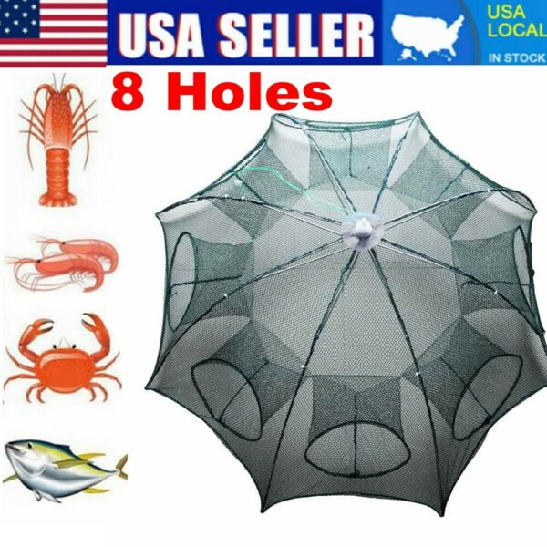 Magic Fishing Bait Trap Full Automatic Folding Shrimp Cast Cage Crab Fish Net US $10.95