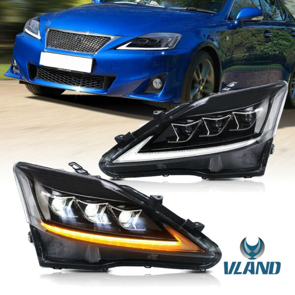1 Pair Full LED Projector Headlight for 2006 2012 Lexus IS 250 IS 350 ISF VLAND