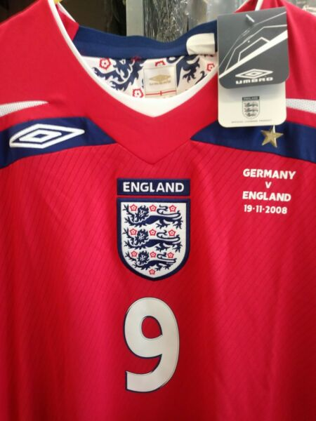 New Authentic Umbro 2008 England Rooney LS Jersey vs Germany manchester United L