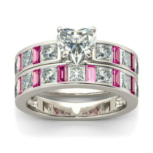 4.5ct Heart Cut Diamond Pink Sapphire Bridal Set Ring Band 14K White Gold Finish