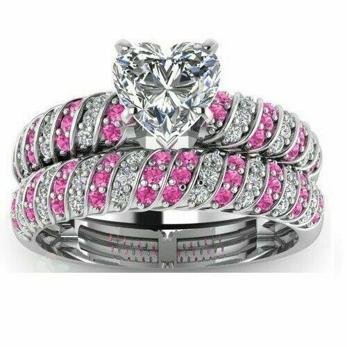 3.5ct Heart Diamond Pink Stone Bridal Set Engagement Ring 14k White Gold Over