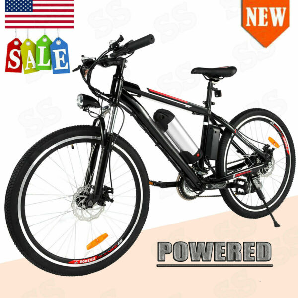 26'' Electric Bike Mountain Bicycle Shimano Ebike 21Speed 36V Lithium Battery