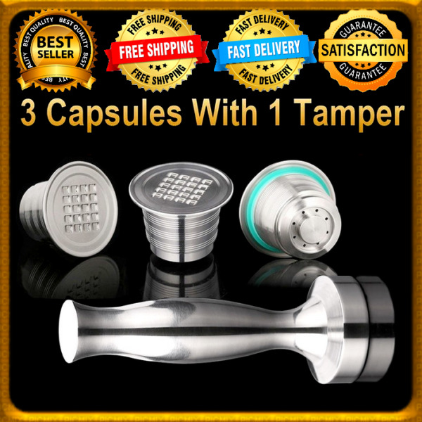 3 Capsules Tamper Nespresso Refillable Coffee Stainless Steel Reusable Filter