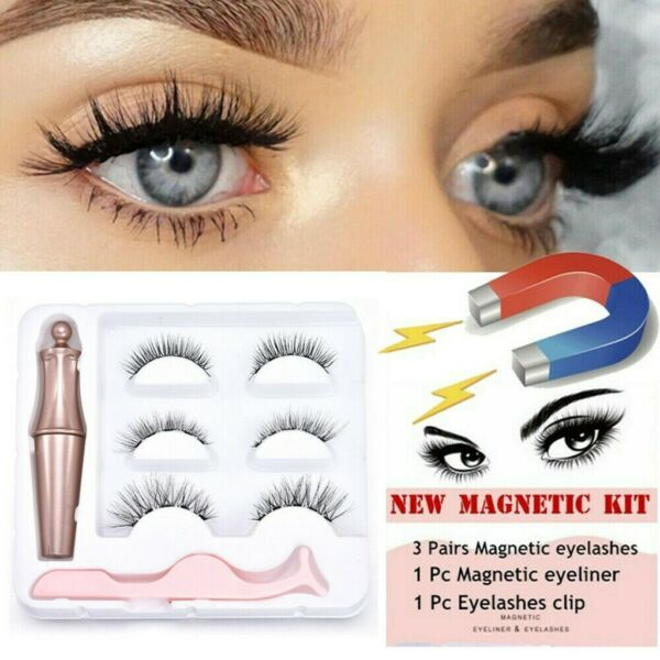 3PCS Magnetic Fake Eyelashes Natural Eye liner Extension Liquid Eyeliner Tweezer
