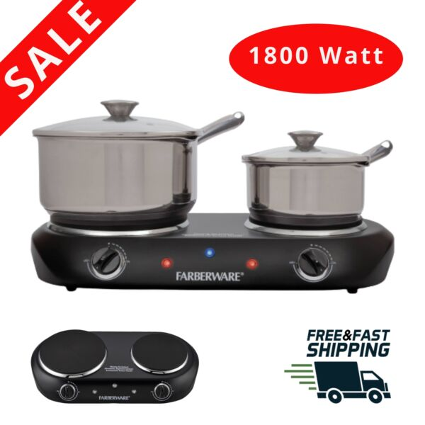 Double Burner Electric Cooking Stove 1800W Portable Cooktop Counter top home