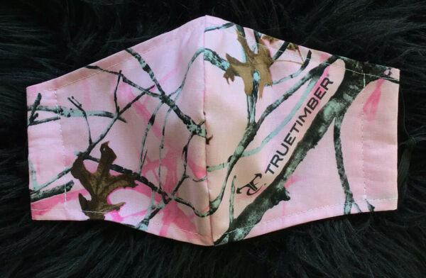 Pink camo face mask. 100 % cotton. Adjustable ties for perfect fit.