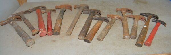 13 vintage claw hammer lot farrier woodworking blacksmith collectible tools