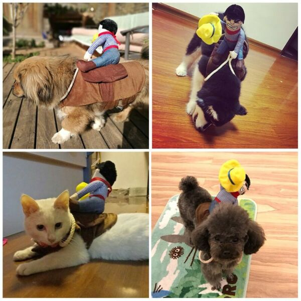 Pet Dog Fake Rider Cowboy Funny Costumes Puppy Riding Cute Vest Apparel Clothes $11.67