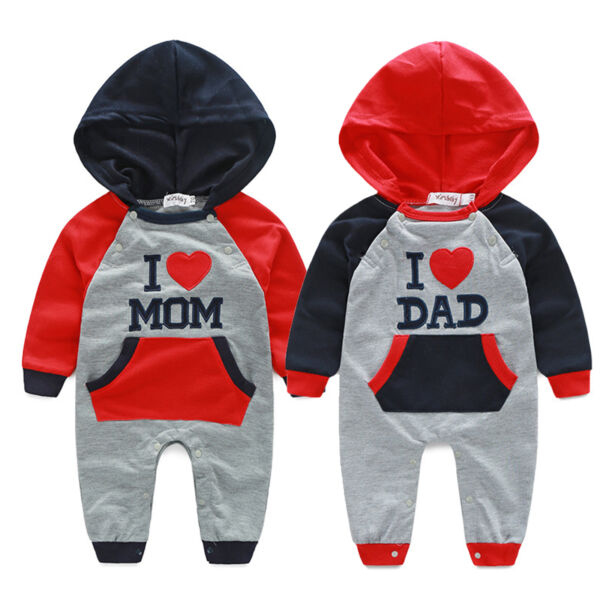 Newborn Baby Boy Girl Cotton Clothes I LOVE DAD MOM Hooded Romper Boysuit Outfit