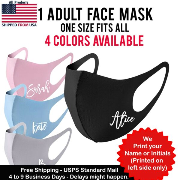 Your NameInitial Face Mask Personalized Fashion Washable Reusable Adult mask  $5.99