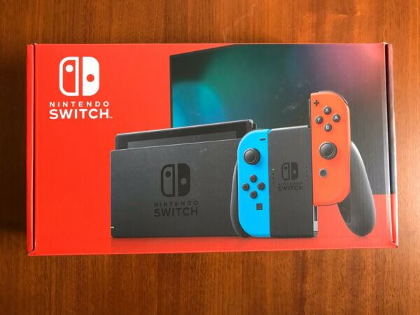 Nintendo Switch w Neon Red and Neon Blue Joy-Con V2 IN HAND