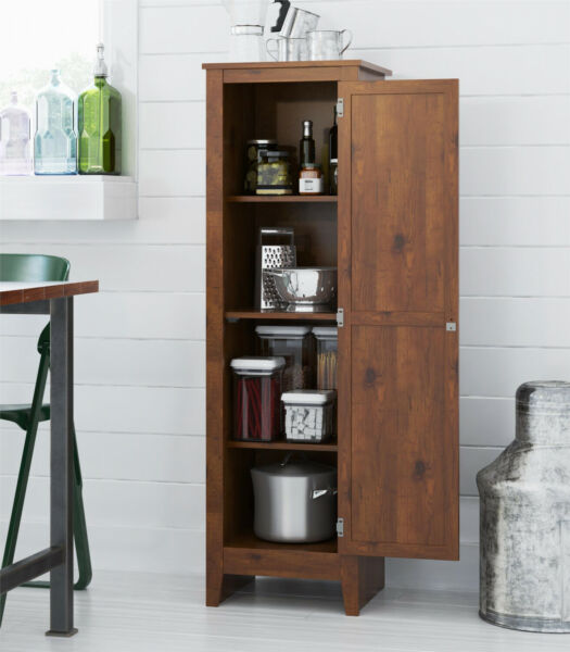 Storage Cabinet Kitchen Pantry Laundry Room Bathroom Office Organizer Pine Wood