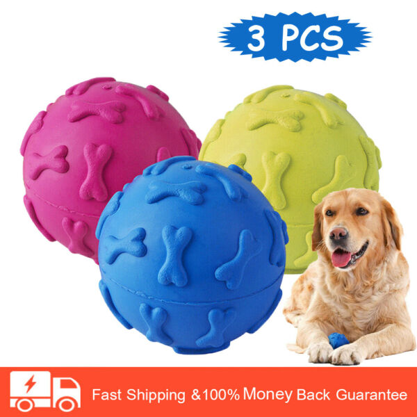 3 Pack Dog Toys Ball Pet Squeaky Toys Trainning Chew Toys for Dog 2.5 Inch $7.49