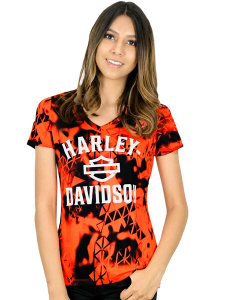 Harley Davidson Womens Harley Era II Safety Orange Short Sleeve V Neck T Shirt