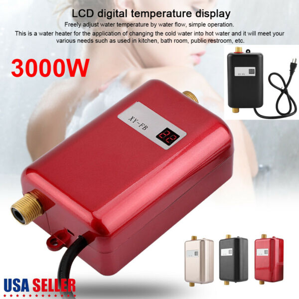 3000W Instant Electric Water Heater Tankless Shower Caravan Camping Hot Water US $54.35