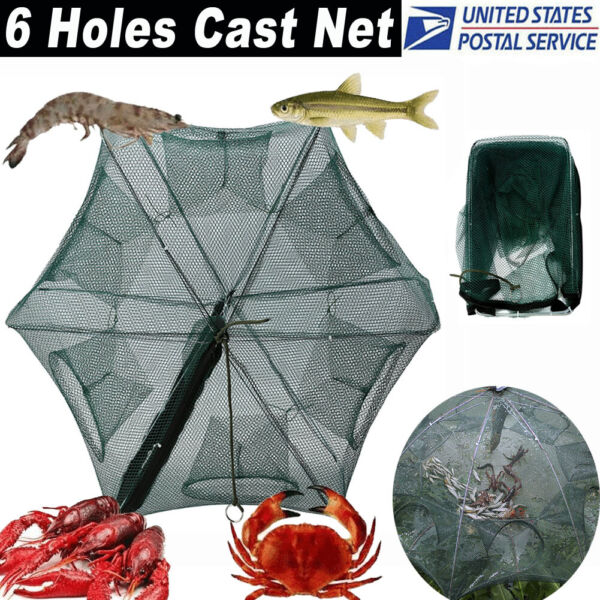 6 Holes Magic Fishing Trap Full Automatic Folding Shrimp Cast Cage Crab Fish Net $8.38