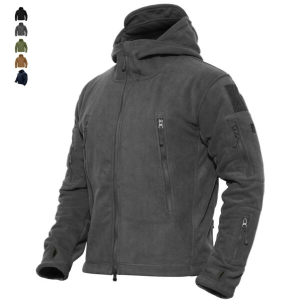 Mens Outdoor Winter Fleece Tactical Army Jacket Windproof Hiking Coats Outwear
