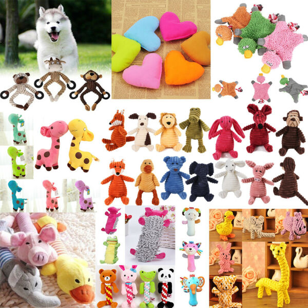 Pet Chew Toy Dog Puppy Squeaker Squeaky Soft Cute Plush Play Sound Teeth Toys $3.19