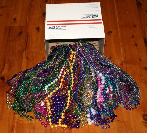 10 POUND Box of New Orleans MARDI GRAS BEADS Large Necklaces Various Colors NICE $9.99