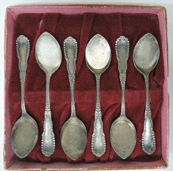 ANTIQUE BOXED SET 6 ICE CREAM SORBET FLAT SPOONS CROWN P A1 BEADED SILVERPLATE