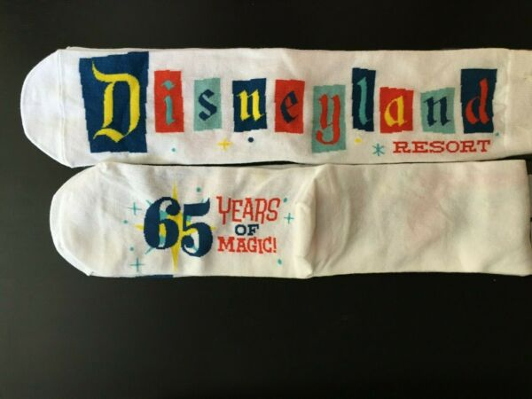 ADULT SOCKS RETRO BANNER MARQUEE SIGN DISNEYLAND 65TH 65 YEARS MAGIC NWT $25.00