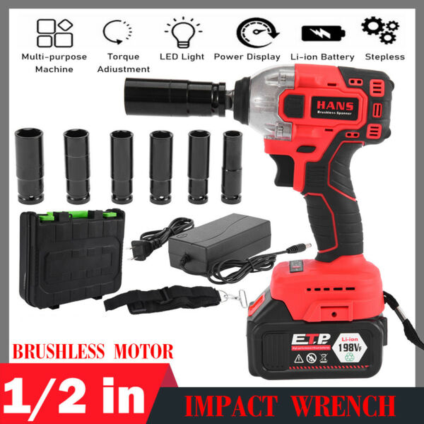 16800mAh 1 2#x27;#x27; Electric Brushless Cordless Impact Wrench Drill High Torque Tool