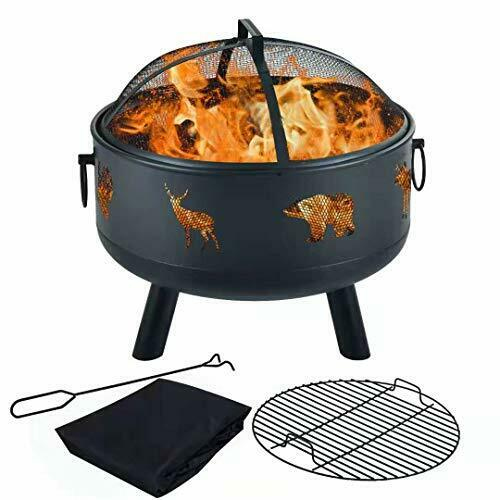 Fire Pits Outdoor Wood Burning Fire Bonfire Pit Bowl Fireplace Grate with Grill