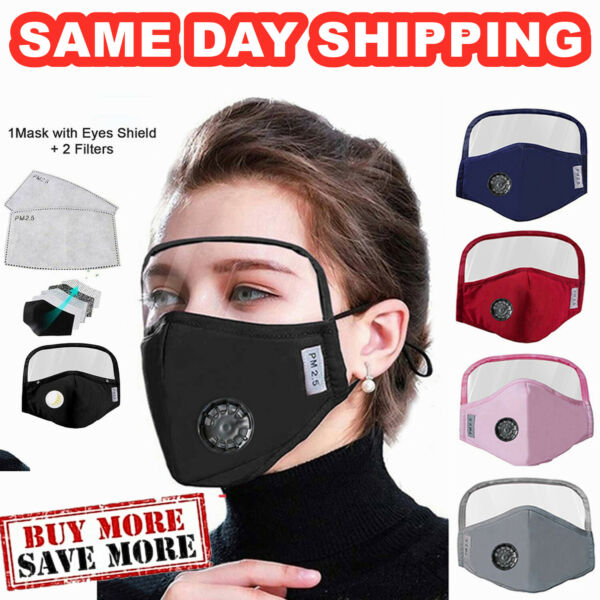 Outdoor Face Protective Face Mask with Eyes Shield + 2 Filters Unisex Protective $10.99