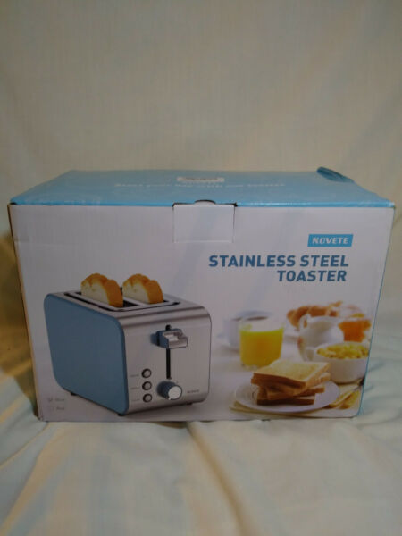 Novete 2 Slice Toaster Stainless Steel Toaster with Cancel Defrost Reheat Button