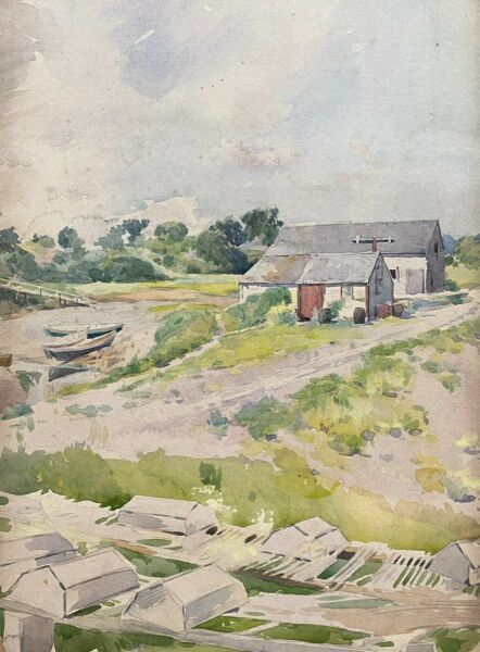 Antique PaintingNew England BoathouseHarry George BurgessListed