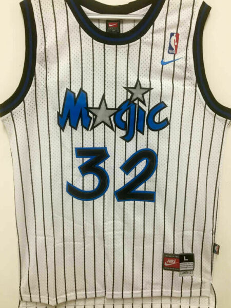 #32 Shaq Shaquille O'Neal Orlando Magic Throwback WHITE Men's Jersey $24.99