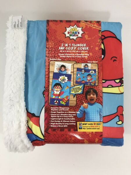 Ryans World 2 in 1 Slumber and Cozy Cover Sleeping Bag Blanket Sherpa