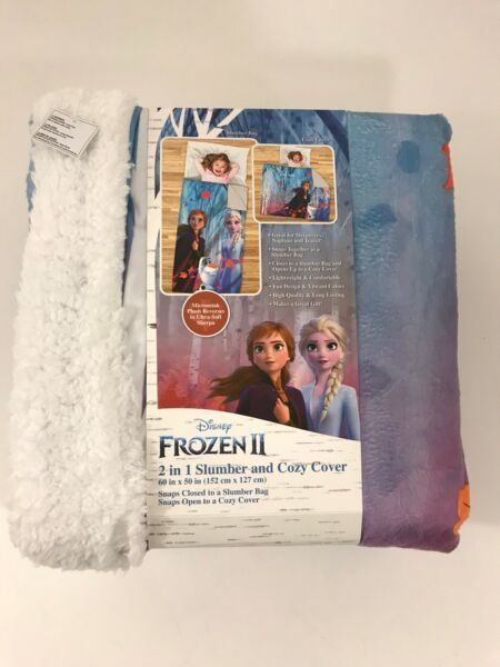 Frozen II 2 in 1 Slumber and Cozy Cover Sleeping Bag Blanket Anna Elsa Sherpa