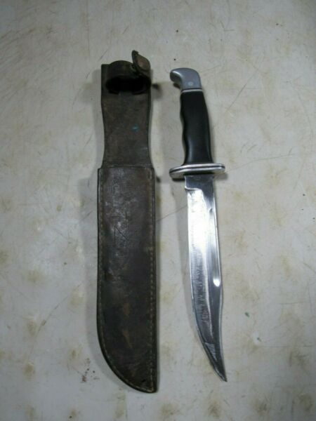 Vintage 1960#x27;s Pre Date Code Buck Fixed Blade Hunting Knife Bowie Type 119 120