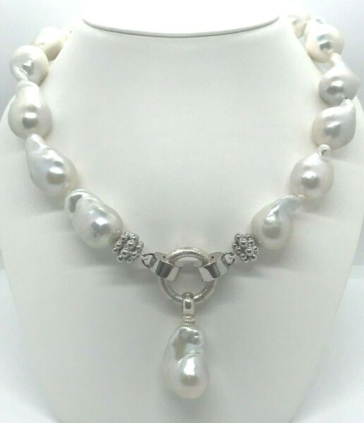 15 mm x 16 mm Baroque Pearl Single Strand .925 Sterling Silver 18