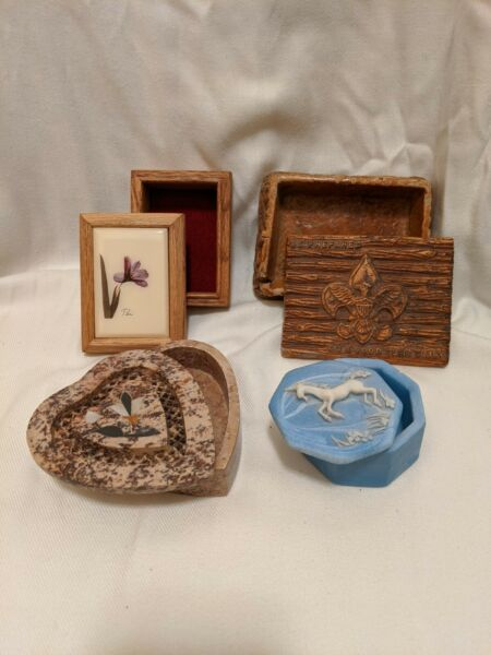 4 miscellaneous vintage boxes Boy Scouts Heart Soapstone Unicorn and Floral