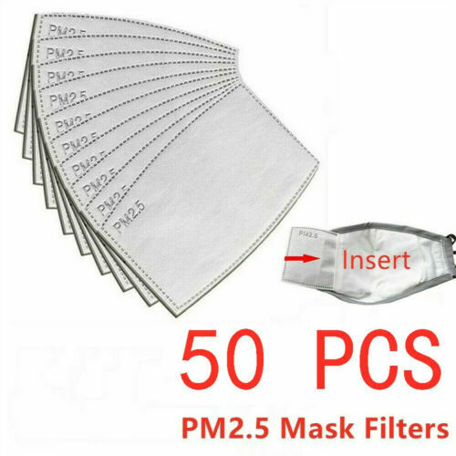 50100 Pack Adult PM2.5 Activated Carbon 5 Layer Face Mask Replacement Filters $20.99
